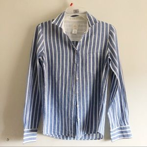 J. Crew Striped The Boy Shirt in blue